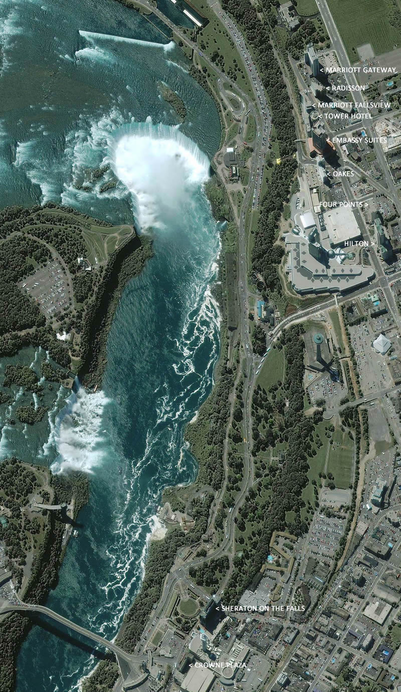 niagara falls hotels with view of falls map