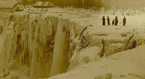 frozen niagara falls 1848